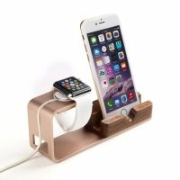 Подставка Rose Gold Aluminum & Wood  For Apple Watch and iPhone
