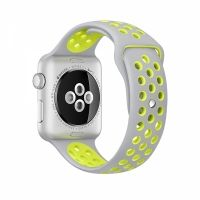 Ремешок Silicone with Flat Silver/Volt Nike for Apple Watch 38/40/42/44mm