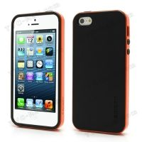 SPIGEN SGP Neo Premium TPU + PC Hybrid Cover Case for iPhone 4.4s.5 - Black / Orange