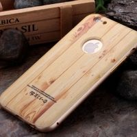 ����� Wood Grain Pattern Cover Case Metal Frame Bumper For iPhone 6. 6s �2