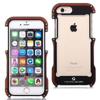 R-JUST Wood Frame Bumper Metal For iPhone 6 /6S Plus