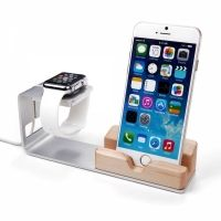Подставка Silver Aluminum & Wood  For Apple Watch and iPhone