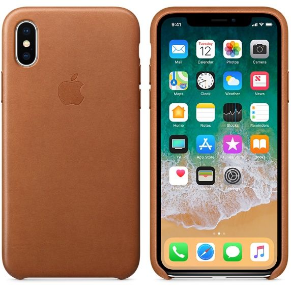 фото Чехол iPhone X/XS Leather Case - Saddle Brown