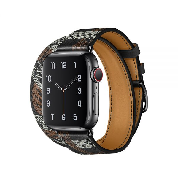 фото Ремешок для Apple Watch 42/44mm Hermes Double Tour Noir Allover Print