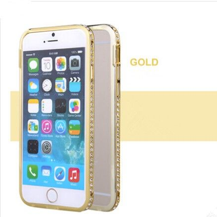 Бампер Gold Luxury SWAROVSKI Diamond Aluminium for iPhone 6. iPhone 6 plus - Фото 1