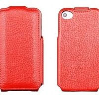 Чехол кожаный flip leather red iPhone 4.4s