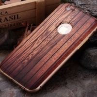 ����� Wood Grain Pattern Cover Case Metal Frame Bumper For iPhone 6. 6s �4