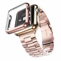 Браслет Steel Watch Band Rose Gold For Apple Watch 38/40/42/44mm и HOCO накладка