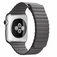 Apple Watch 38/40/42/44mm Stainless Steel Case Grey Leather Loop