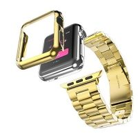 Браслет Steel Watch Band Gold For Apple Watch 38/40/42/44mm и HOCO накладка