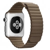 Apple Watch 38/40/42/44mm Stainless Steel Case Brown Leather Loop