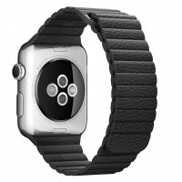 Apple Watch 38/40/42/44mm Stainless Steel Case Black Leather Loop