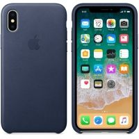 Чехол iPhone X/XS Leather Case - Midnight Blue, Цена: 603 грн, Фото