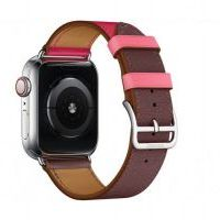 Ремешок Apple Watch Hermès - 42/44mm Bordeaux/Rose/Rose Azalée Swift Leather Single Tour
