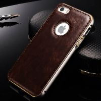 Чехол Cross Leather Brown - bumper silver for iPhone 5.5s / 6.6s