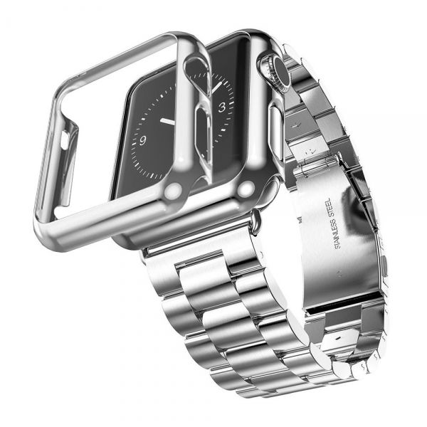 фото Браслет Steel Watch Band Silver For Apple Watch 38/40/42/44mm и HOCO накладка
