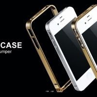 Бампер Cross-Line Aluminum Ultrathin 0.7мм Champagne iPhone 4.4s оригинал