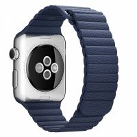 Apple Watch 38/40/42/44mm Stainless Steel Case Blue Leather Loop