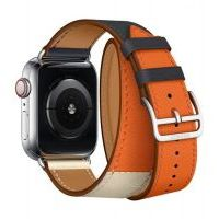 Ремешок Apple Watch Hermès - 42/44mm Indigo/Craie/Orange Swift Leather Double Tour