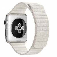 Apple Watch 38/40/42/44mm Stainless Steel Case White Leather Loop